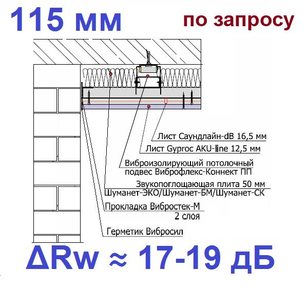 Звукоизоляция потолка на виброподвесах Виброфлекс-Коннект ПП (115 мм)